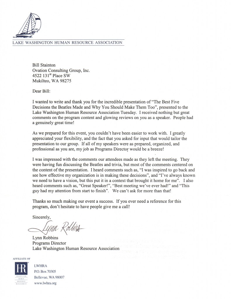 Testimonial Letters The Executive Producer