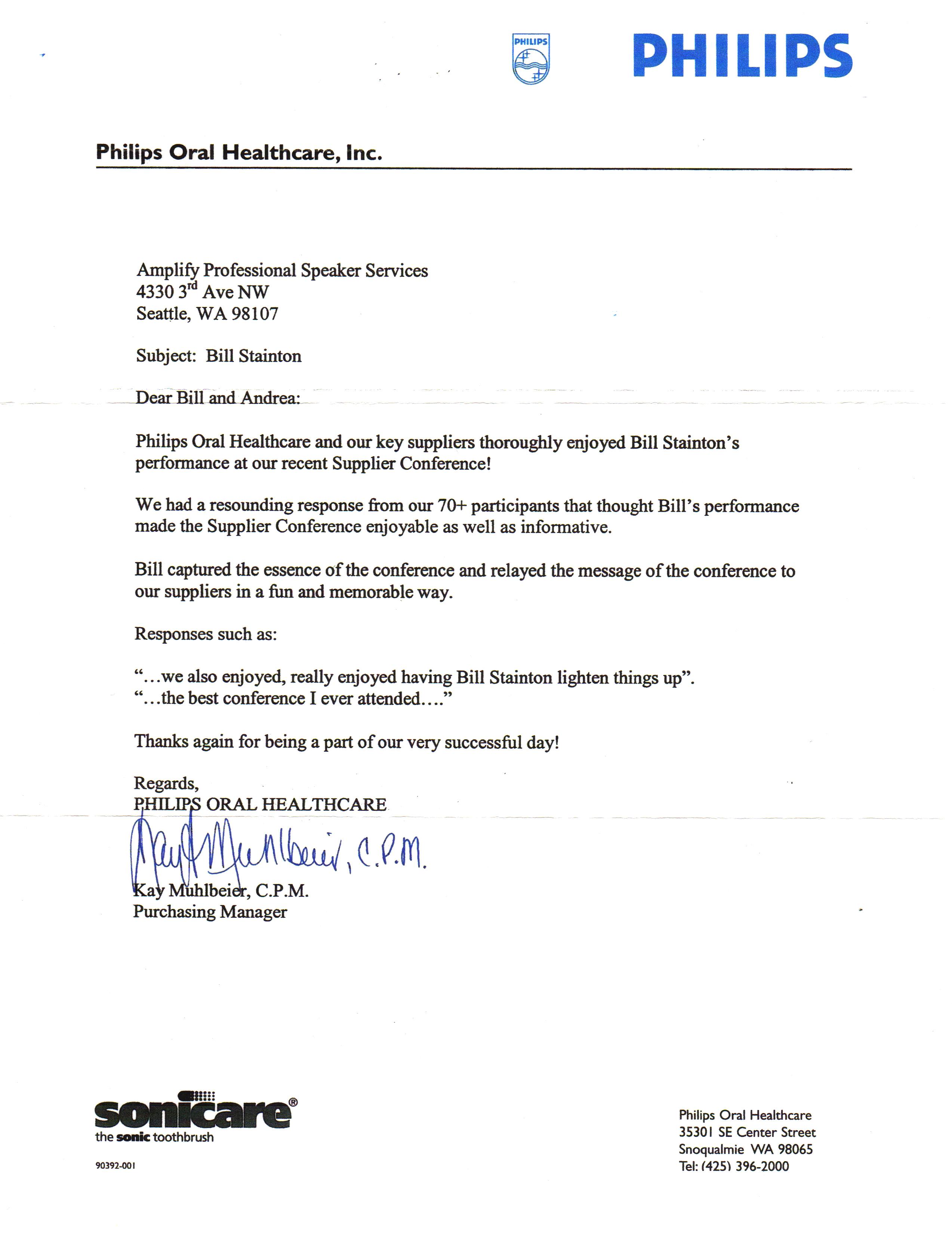 philips testimonial letter