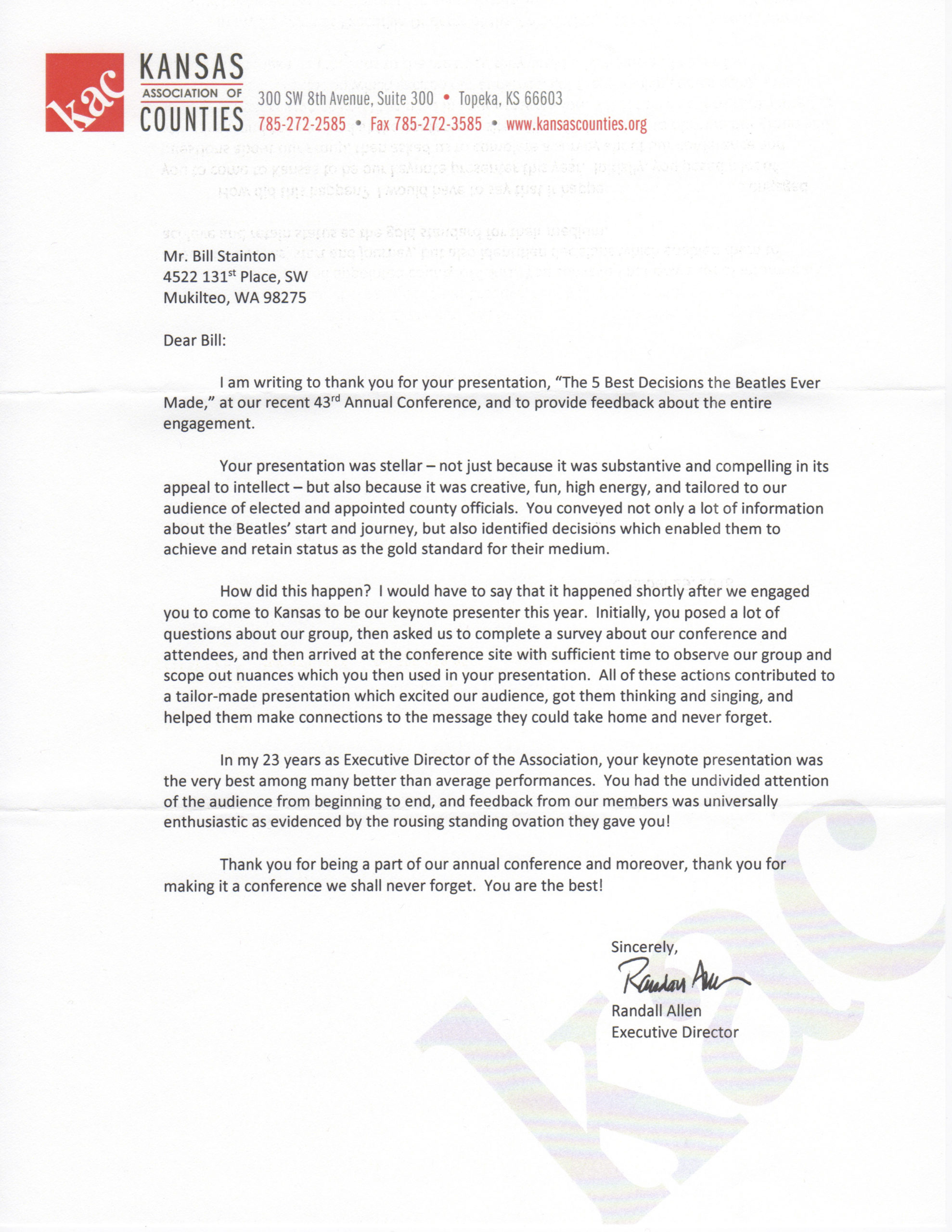 Best Recommendation Letter Ever from billstainton.com